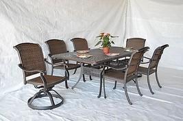 Santa Clara Outdoor Patio Set 7pc Dining Set Cast Aluminum Dark Bronze - $2,227.50