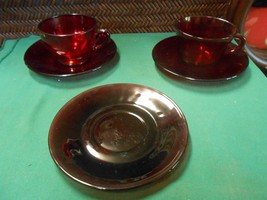 Great RUBY RED Glass...2 CUPS & SAUCERS & 1 FREE Saucer - $6.52