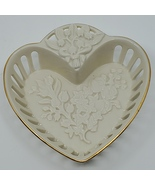 Vintage LENOX FOREVERMORE ivory gold banded pierced heart small dish  - $20.00