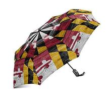 InterestPrint American Maryland State Flag Wooden Background Windproof Compact O - $25.73