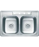 Aspen 33W X 22L X 7D Double Bowl Topmount 4-Hole 21G Stainless Steel Sink - $168.92