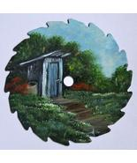 Summer Round Hand Painted Sawblade, Mini, Collectible, Outhouse On Left,... - $12.50