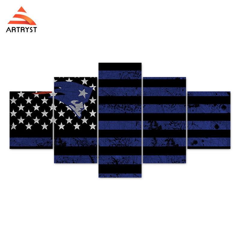 Framed 5 pcs new england patriots flag canvas print for Latest home decor items