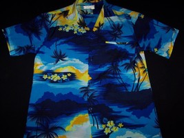 Helena's size S Hawaiian Shirt made in Hawaii blue floral orchid & palm ... - $34.99
