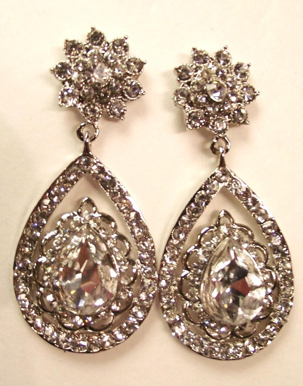 Silver Clear Swarovski Crystals Teardrop Bridal Earrings