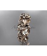 Nature inspired wedding ring, 14kt rose gold diamond flower engagement r... - $785.00