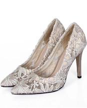 9cm Heels Beige Lace Wedding Pumps/Bridals Heels/Lace Evening Pumps/High... - $68.00