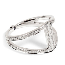 925 Silver 14k White Platinum Plated Round Cut CZ Noor Fares Ring Free S... - $88.99