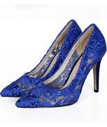 5cm Heels Royalblue Lace Wedding Shoes/Low Heels Bridals shoes/Lace Even... - £54.59 GBP