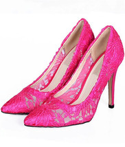 Hot Pink 9cm Heels Lace Wedding Pumps/Bridals Heels/Evening Pumps/High H... - $68.00