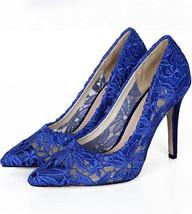 Royal blue 7cm Heels Lace Wedding Shoes/Bridals Pumps/Lace Evening Shoes/Pumps - $68.00