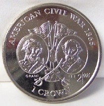 IOM AMERICAN CIVIL WAR GRANT & LEE 1999 CROWN CUNI COIN UNC - $22.99