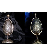2 OLD REPOUSSE FABERGE INSPIRED SOLID SILVER EGGS ON STANDS  w/ PERFUME ... - $1,560.00