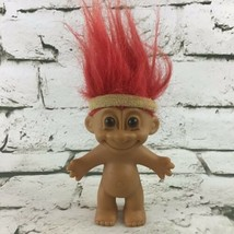 "Vintage RUSS 4"" Troll Doll Figure Collectible Toy Red Hair Sweatband Nude  - $11.88"
