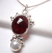 Garnet Cultured Pearl Pendant 925 Sterling Silver with Decorative Crown ... - $11.83