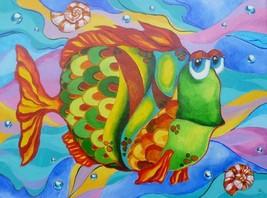 "Akimova: FISH, fantasy, animal, acrylic, 18""x24"" - $60.00"