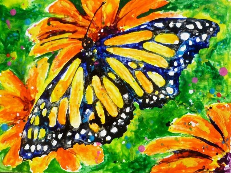 "Primary image for Akimova: BUTTERFLY,yellow,green,wax painting,approx.9""x12"""