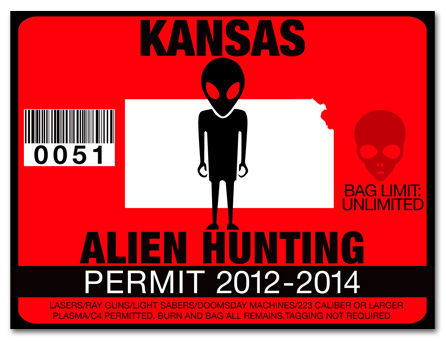 Alien hunting permit funny license decal roswell ufo for Kansas state fishing license