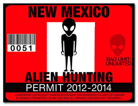 Alien hunting permit funny license decal roswell ufo for New mexico fishing license