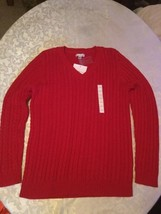 Ladies New Size large Croft&Barrow sweater V neck red  - $18.75