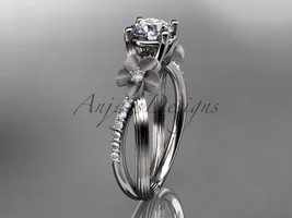 Unique Floral engagement ring, 14kt white gold diamond leaf and vine wed... - $1,255.00