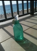 Seafoam Green Glass Bottle With Topper - $36.99