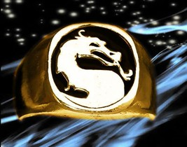 Mortal Kombat BLACK Ring Dragon Gold pltd Sterling silver .925 fatality ... - $89.99