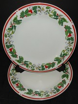2 St Maria Lynns Fine China Dinner Plates Christmas Holly & Berry Red Ba... - $34.64