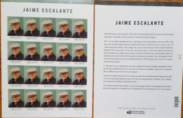 JAIME ESCALANTE (USPS) STAMP SHEET 20 FOREVER STAMPS - $14.95