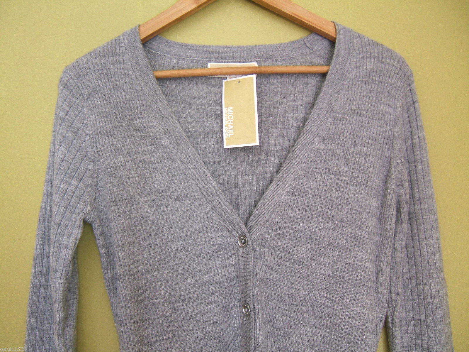 NWT Michael Kors Pearl Heather Gray Wool Cardigan Button Down Sweater S $170