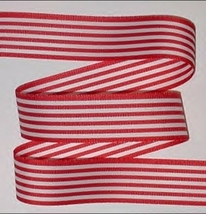 Red White Stripes Grosgrain Ribbon Candy Striped Christmas 4th Of July P... - $4.50