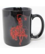 Marlboro Unlimited Marlboro Man Coffee Mug Black & Red Cowboy Horse Bucking - $12.16