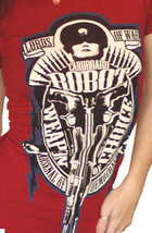 Cardboard Robot Women's Blood Red Weapon Arsenal of Democracy Choice T-Shirt NWT image 2
