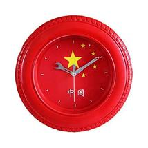 PANDA SUPERSTORE Five-Starred Red Flag Tire Shape Wall Clock Fashion Loo... - $36.14