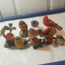 8  wooden painted birds bluejay cardinals  - $29.70