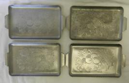 Hammered Aluminum Metal Tray Set Lot of 4 Fruit Grain Farm Harvest Vintage - $38.77