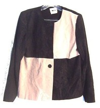 Sz 8 - Leslie Fay Long Sleeve Black & Tan Business Suit Top - $18.99