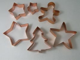 6 Copper Cookie Cutters Stars Christmas Tree Gingerbread Boy Holiday Decor - $12.59