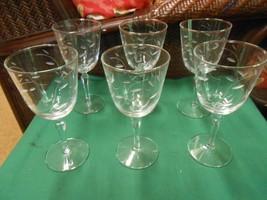 """Beautiful Wheel Cut Glasses- Set of 6 WINE Glasses 7.25"""" - $18.40"""