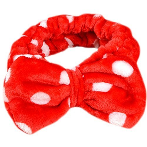 Hair Band Makeup Hair Wash A Face With Hair Hoop Bowknot Headdress(Red)