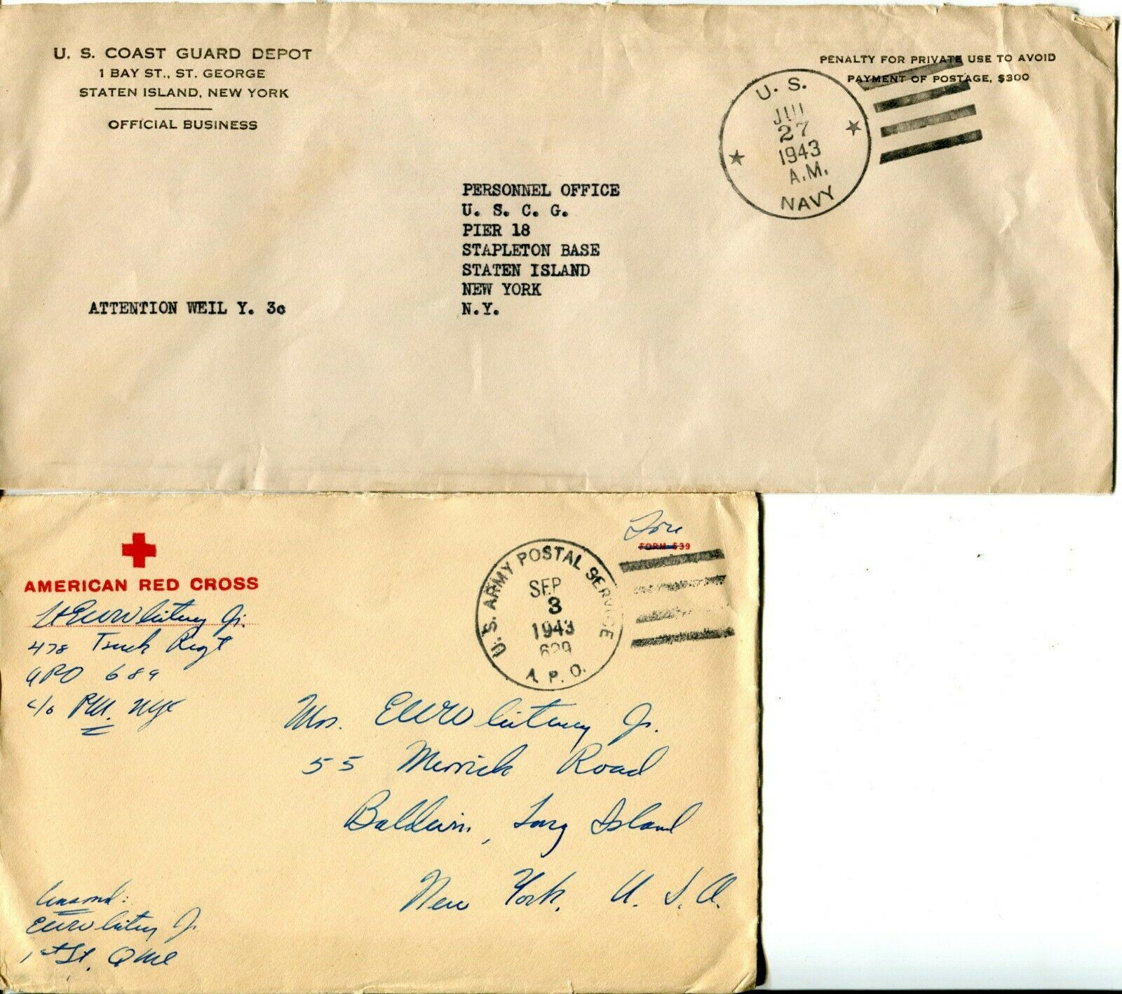 Marine US Army American Red Cross WWII Navy Military Cover Postage Collection image 4