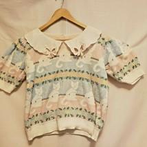 Vintage Pastel Kitty Cat Kitten Sweater Short Sleeve Collar S M Cotton F... - $79.20
