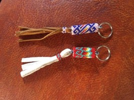 NATIVE AMERICAN NAVAJO MEDIUM SIZE BEADED KEYRINGS BY VIRGIL WHITMAN - $13.00