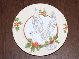 Fitz and Floyd Christmas Holly Dove Salad / Dessert Plate Porcelain Japan - $22.76