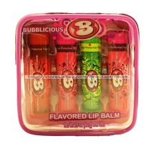 LOTTA LUV* 5pc Flavored Lip Balm/Gloss BUBBLICIOUS Clear Zipper Case NEW... - $6.16