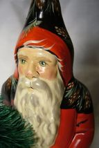 Vaillancourt Folk Art , Red Santa with Tree , signed by image 3