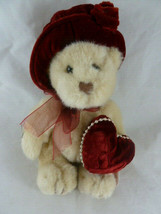 "Russ Berrie Duchess Latte color Teddy Bear 9"" with Valentine heart &velv... - $11.87"