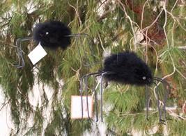 POTTERY BARN FEATHERED SPIDERS (2 MEDIUM) – NWT – SPIN A WEB OF HALLOWEE... - $49.95