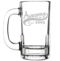 12oz Beer Mug Stein Glass Funny Awesome Since 1993 25th Birthday - $12.86