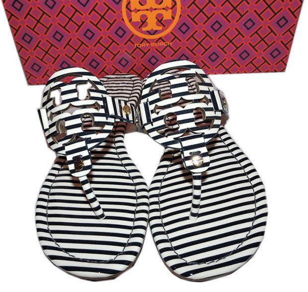6dd826db3 ... Tory Burch Miller Thong Sandal Stripped Patent Leather Flats Flip Flop  7 Slide ...